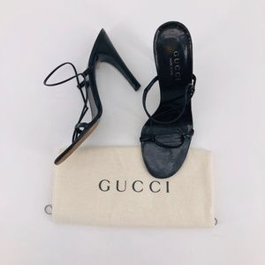 GUCCI Black Leather Strappy Sandal Pump